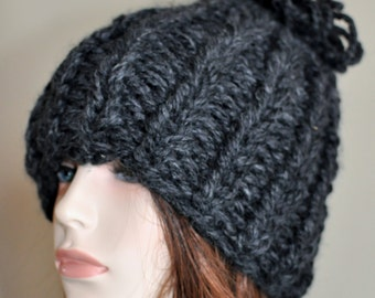 Pom Pom Beanie Chunky Beanie Hat Super Chunky Hat Knit Women Hat Chunky Hat  Charcoal Gray Handmade Christmas Gift under 50