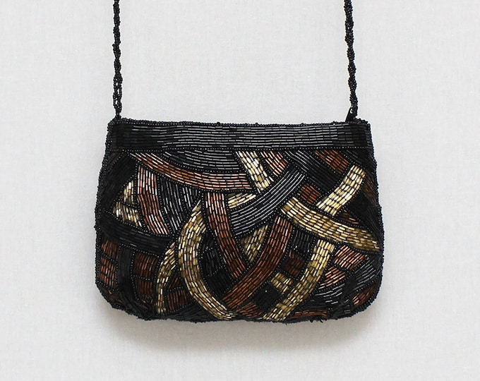 Vintage 1970s Black Gold and Bronze Beaded Purse