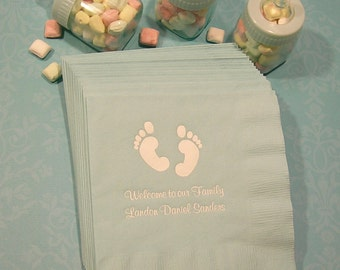 Baby shower napkins personalized baby feet shower napkins Set of 50 baby napkins personalized baby shower napkins beverage and luncheon size
