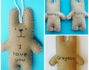 Funny Valentine plush bunny ornament - I love you bunny - Valentines gift or Christmas tree decor