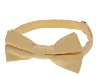 Yellow Weddding Bowties.Yellow Chambray Cotton Bow Ties.Solid Yellow Bowtie.Groomsmen Bowtie.