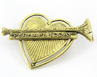 Vintage Antiqued Heart Brooch Horn with Inspirational Banner