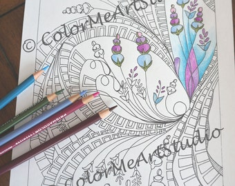 Adult Coloring Page, Coloring Therapy, Zen Coloring page, Hippy Art Coloring Page, Printable Download, Gift Idea, Coloring Page, DIY