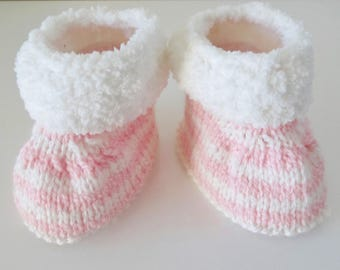 Pink and white striped 3/4 month baby boots booties