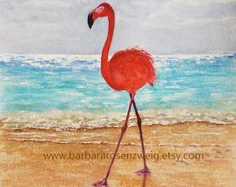 Flamingo Painting, Flamingo Print, Coastal Decor, Flamingo Wall Art, Beach Decor Art, Flamingo Watercolor, Flamingo Lover, Beach House Decor