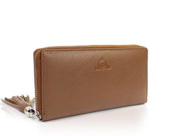 Leather Ladies Wallet Handmade Women Wallet , Groomsmen Gifts, Soft Leather WJEN-BS01-BR