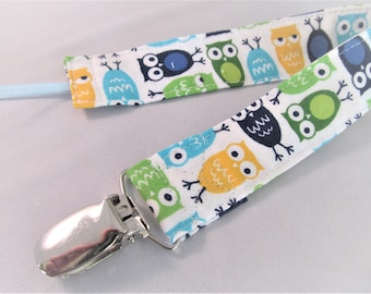 Universal Fabric Pacifier & Toy Clip - Mini Owls in Green Blue Aqua Yellow - Paci Clip, Teether Clip, Binky Clip, Baby Shower Gift