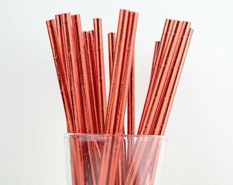 Red Foil Paper Straws - Mason Jar Straws - Party Decor Supply - Cake Pop Sticks - Party Favor