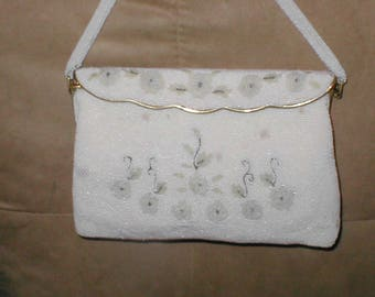 Vintage White Beaded Evening Purse from FRANCE