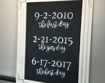 Personalized Wedding Sign - The First Day, The Yes Day, The Best Day