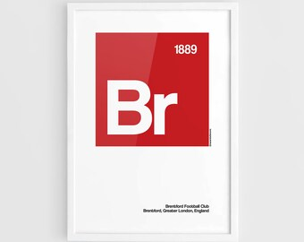 Brentford FC Football Elements Poster - A3 Wall Art Typography Print Poster, Minimalist Poster, Football Poster, Soccer Poster