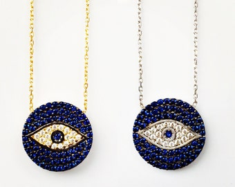Eye Necklace Pave With Brilliant Cubic Zirconia • Unique Design • One of My Favorite Evil Eye Necklaces and Sure to Get You Many Compliments