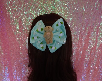 Kawaii Sweet Lolita Angelic Bear Green Satin Twin Tail Hair Bow
