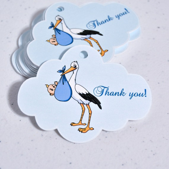 Attractive Boy Baby Shower Thank You Tags Stork Boy Party Supplies