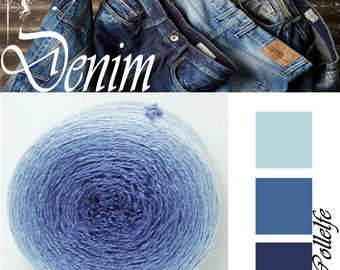 Denim* Merino silk Gradient Yarn hand dyed - Lace weight