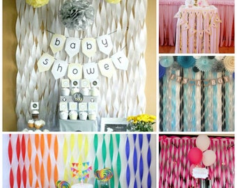 Backdrop Photo Background Birthday Decorations High Chair Banner Table Decoration Streamer Crepe Paper Backdrop Baby Shower Wedding