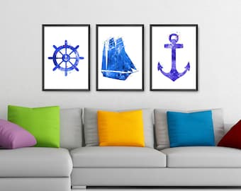 Nautical Prints Set of 3 , Ship Wheel Ship Anchor, Nautical Set, Nautical Nursery, Beach Decor, Bathroom Art Print  (No A0136)