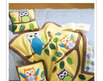 McCall's M6482 Owl Appliqué Pillows and Quilt Sewing Pattern / Uncut/FF