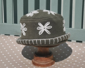 Khaki olive green daisy flower fleece cloche home grown hat