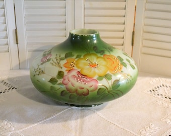 Vintage Glass Lamp Shade Hand Painted Floral Chipped Craft Supply Green Pink Yellow Hurricane Lamp Shade PanchosPorch