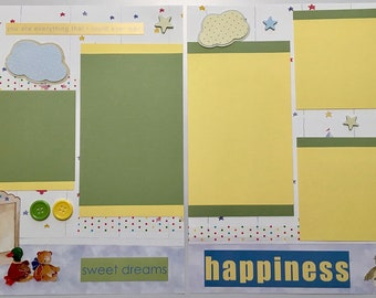 Baby Boy Themed 12x12 Premade Scrapbook Pages ~ 2 Page Set ~ SWEET DREAMS
