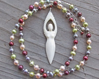 Goddess Angel Multicolor Pearl Divine Feminine Spiritual Healing Statement Necklace