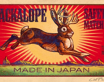 "Jackalope Matchbox Art- 5"" x 7"" matted signed print"