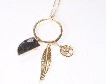 Labradorite Gemstone with Gold Leaf and Tree of Life Long Pendant Necklace