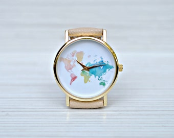 Gift for women. Graduation gift. World Map watch. Travel gift. Woman gift. Outdoors Gift. Globe watch. Travel jewelry. Wanderlust gift