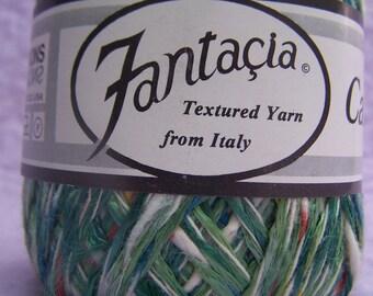 Fantacia Carnevale, Fantacia yarn, shiny green yarn, green multi yarn, green multi worsted, cotton viscose yarn, green cotton blend yarn
