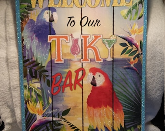 Welcome To Our Tiki Bar Sign