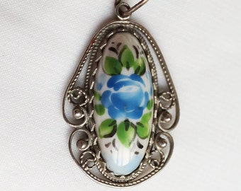 Pendant Finift Enamel. Russia.Vintage/ estate 1970s/ 80s Russian silver plated and Rostov Finift enamel flower pendant - jewelry