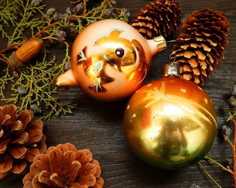 Christmas Ornament Balls Soviet Christmas Glass Ball Tree Decoration Gold Bauble Vintage Christmas Set Of 2 Balls Soviet Ornament Xmas ball