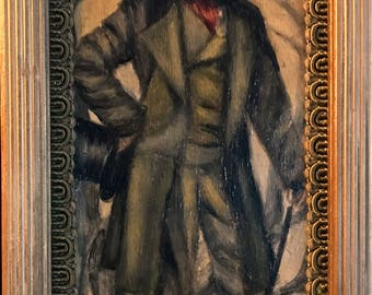 The Raven 's Dream - Anthropomorphic Oil Painting - Poe