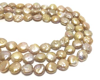 Coin Pearls, 10-10.5mm Natural Lavender and Gold Color Freshwater Pearls in 15.5 inches, COIN007