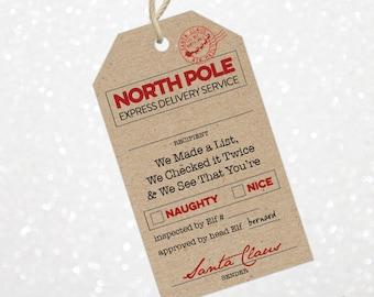 Christmas Santa Gift Tags | Printable Santa Gift Tags | Holiday Gift Tags | Special Delivery Gift Tags