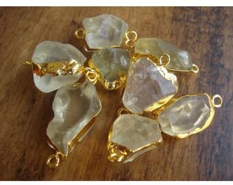 Raw Lemon Quartz Connectors, Gemstone Connectors, Lemon Quartz Stone, 5 Pieces, 22mm To 28mm Approx