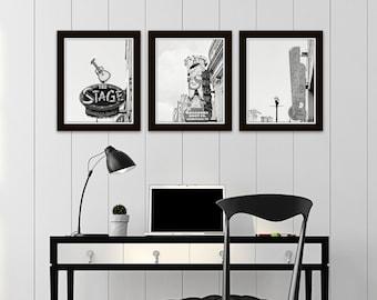 Nashville black and white photography prints Nashville wall art set of 3 prints apartment art Nashville signs art wall art set wall decor