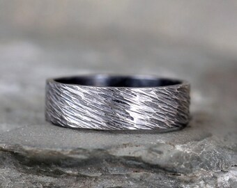 Sterling Silver Hammered Finish Wedding Band – Oxidized Patina – Commitment Rings – Wedding Bands – Unisex Design – Mens Bands