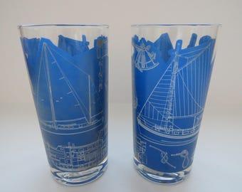 George Briard Sailboats Ships Drinking Glasses - Set of 2 - Nautical Highball Glasses - Blue Glassware - Mid Century Modern Barware