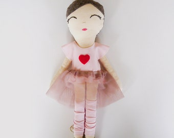 Maisie Cloth Doll in Pink Heart Top and Tulle Skirt