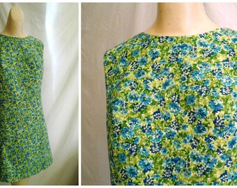 1960's Dress Vintage Floral Cotton Mini Dress Mod Laugh In Small 35 x 32 x 35