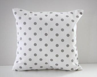 Decorative Pillow Cover, Pillow Sham, White and Gray Polka Dots Pillow Sham, 18x18, Home Decor, Throw Pillow