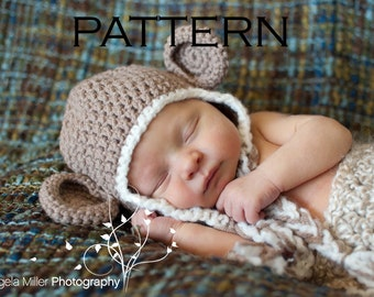 Baby Monkey Hat Crochet Pattern - PDF