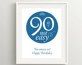 Happy 90th Birthday! Instant download files for card or poster, Blue, 90 is not easy—you amaze us!