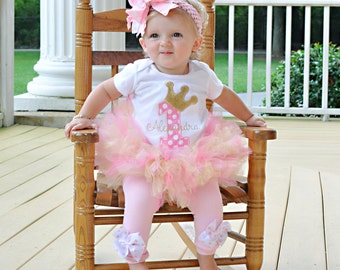 Pink and Gold Birthday Tutu Outfit Royal Princess As Seen in VOGUE bodysuit, leg warmers, tutu, bow in pink and gold