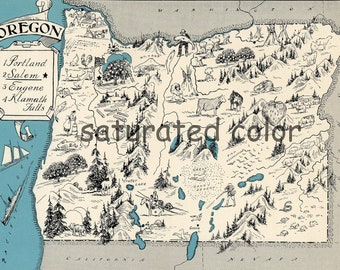 Oregon Map - Map Art - High Res DIGITAL IMAGE of a 1930s Vintage Picture Map - Turquoise Aqua - Charming & Fun