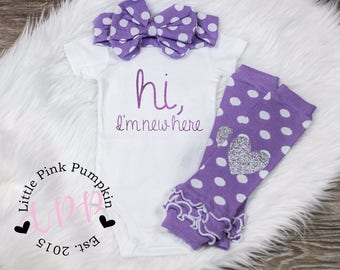 Baby Girl Clothes, Hi I'm New Here Outfit, New Baby Outfit, Hospital Outfit, Coming Home Outfit, Purple, Infant Outfit, baby outfit