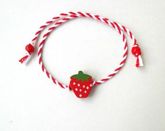 Strawberry bracelet, Cotton bracelet, Bracelet for kids, Twisted thread, Red and White, March bracelet, Summer gift, Egst, Martis bracelet