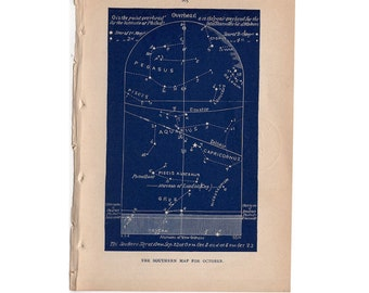 1891 OCTOBER celestial print original antique astronomy galaxy sky chart lithograph - southern map for october